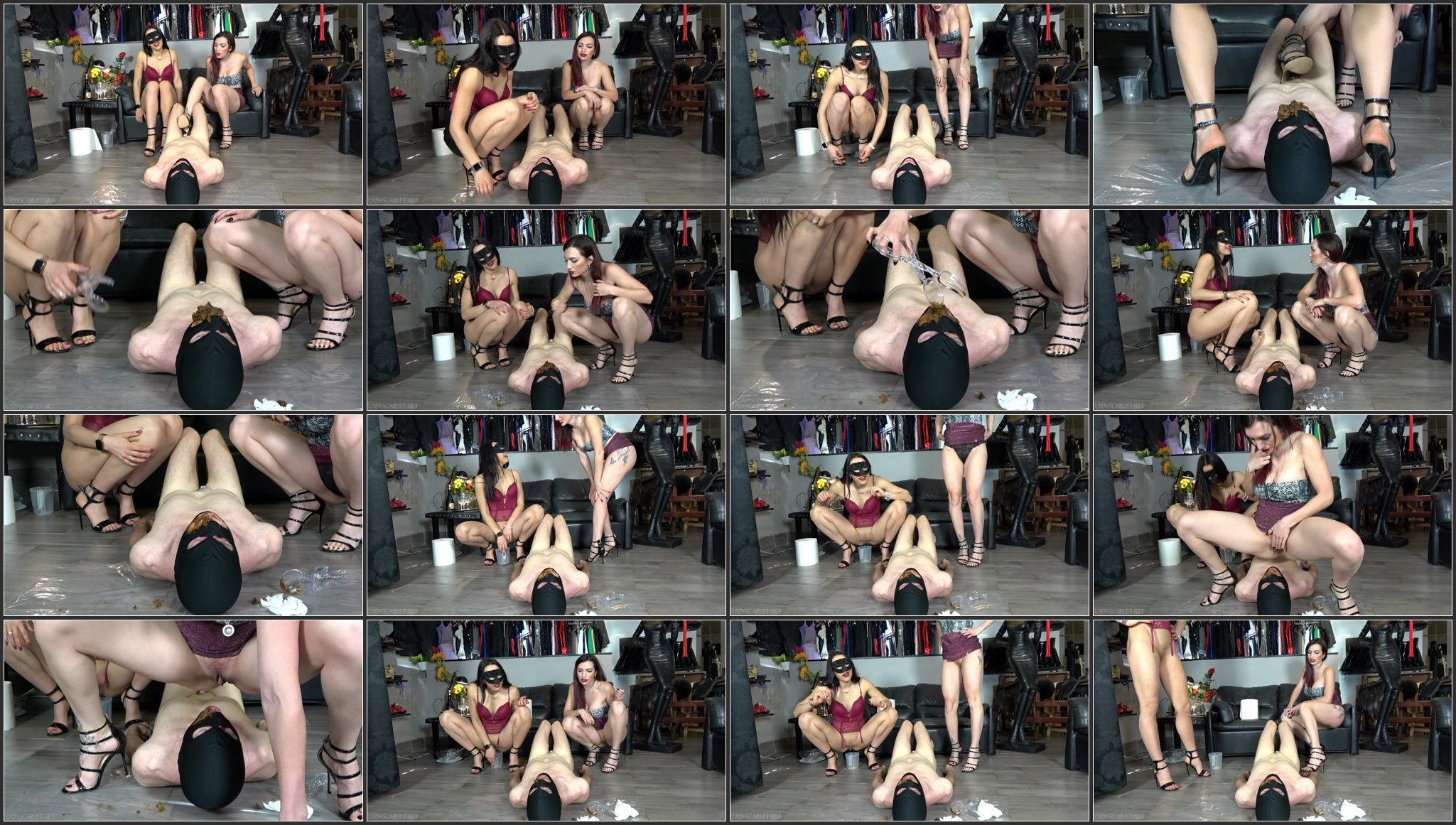Scatbb.Com - Lady Sacrlet And Mistress Gaia - Fed By Two.ScrinList